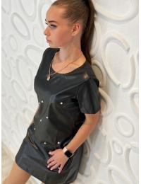 Стильное платье из экокожи PERFECT черное